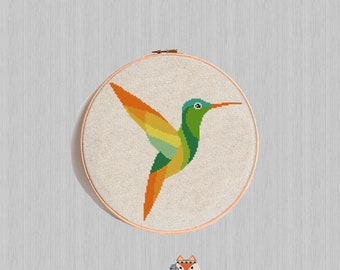 Hummingbird cross stitch pattern Bird Geometric Modern Counted Cross Stitch Watercolor Animal Embroidery Chart Easy Funny Birth diy gift