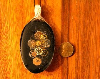 Steampunk Silverplate Spoon Pendant with clockwork gears in resin