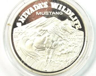 1994 Nevada Wildlife Series Mustang 2ozt .999 Fine Silver Round