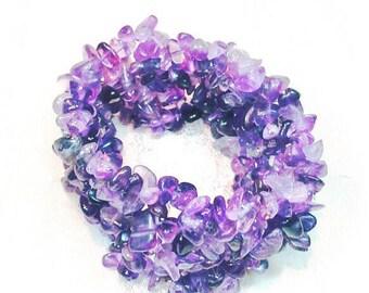 Amethyst Cuff Bracelet, Stretch Bracelet, Carpet Bracelet, Handmade Jewelry By NorthCoastCottage Jewelry Design & Vintage Treasures