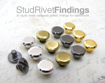 20sets 8mm Head, BRASS mini Button Studs Stand Leather Screw back / Chicago Screw for DIY Craft / HIGH Quality