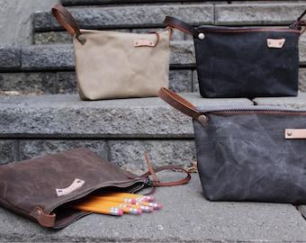 Waxed canvas bag, Pencil Pouch, Makeup Bag, Toilitery Bag,
