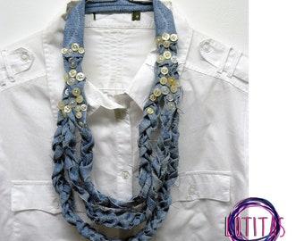 Denim necklace. Blue jeans necklace. Maxi necklace