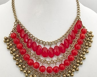 Red Beaded Gold Chain Necklace / Red Beads Bib Necklace.