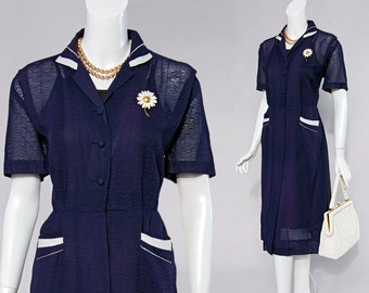 40s Navy blue textured sheer dress with white contrast at collar & pockets | size medium