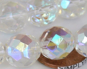 Crystal AB Czech Fire Polished Beads 12mm 6 Faceted Round Glass