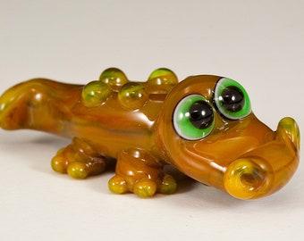 Swamp Gator Lampwork Animal Bead