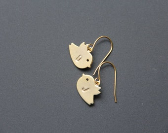 Personalized Gold Birds Earrings,  Gold Bird Earring, Everyday Earrings, Wedding Earrings, Bridal Earrings, Bridemaids Gift, JEW000198