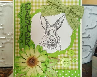 Happy Easter Card Easter Handmade Card Handmade Easter Card Bunny Easter Card Bunny Greeting Card Happy Easter Handmade Card with Bunny