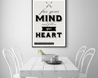 Fortune Cookie Printable Poster - Free your Mind Inspirational Quote multiple sizes - Scandinavian Black & White Minimalist Modern Wall Art