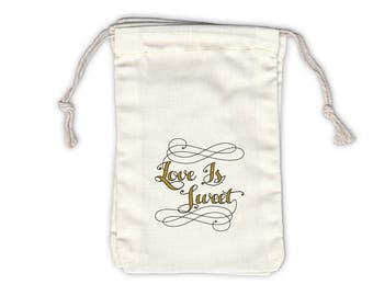 Love Is Sweet Calligraphy Cotton Bags for Wedding Favors in Black and Gold - Ivory Fabric Drawstring Bags - Set of 12 (1052)