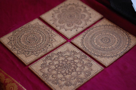 Mehndi Free Hand : One freehand pyrography mehndi design cork trivet