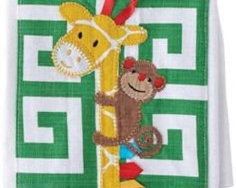 Mud Pie Zebra & Monkey Burp Cloth - FREE MONOGRAM