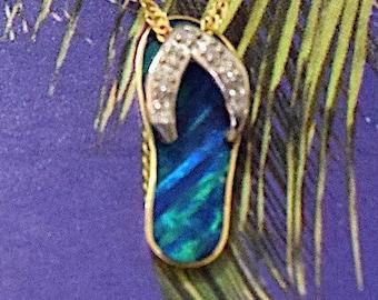 Slipper Pendant, 14KT Yellow Gold Slipper Blue Opal Inlay W. Diamond Pendant, P5258
