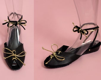 THE GLITZ - 1940's Inspired Black Leather Adjustable Ankle Strap Wedge Sandal with Metallic Gold Detailing & Lace-Up Front - Sizes 5 to 12
