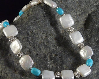 Pearl Necklace with Sleeping Beauty Turquoise