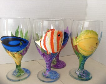 Tropical fish ice tea /water glasses.  Hand painted, bright colors.