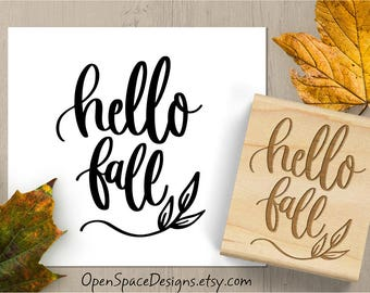 Hello Fall Stamp, Fall Rubber Stamp, Autumn Stamp, Cardmaking Stamp, Scrapbook Stamp, Hand Lettered Stamp 185
