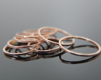 One Thin Hammered Band in 14k Yellow Gold, 14k Rose Gold or 14k White Gold. Knuckle size available.