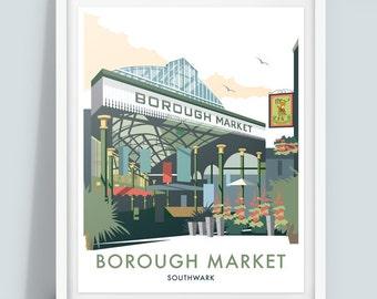 Borough Market, London Travel Poster