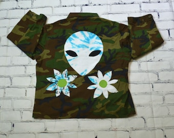 Reclaimed Upcycled Green Brown Camo Alien Patch Floral Jacket Festival Wear Tie Dye 90s Inspo