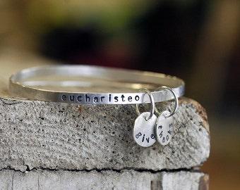 Bangle Bracelets - Silver Stacking Bangle - Personalized Jewelry - Boho Jewelry - Silver Bangles - Silver Bracelet - Bangle Set - Gift B1028