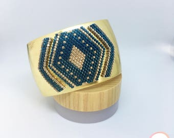 Gold & deep blue cuff