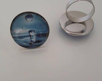 blue grey rain drop ring