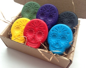 CRAYONS Cinco de Mayo, Day of the Dead, Eco Friendly Sugar Skulls Soy Crayons, Kids Gift, Kids Craft, Eco Gift, Party Favor, Birthday