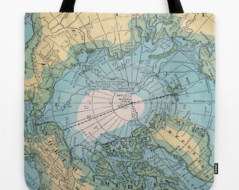Arctic Map Tote Bag, travel theme tote, blue, yellow green, everything bag, allover print, gift for mom, beach bag, travel bag