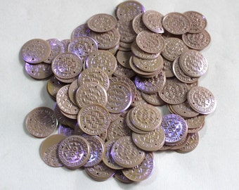 100 Pastel different unusual purple Color/Round Sequins /Currency Texture/ KRS661