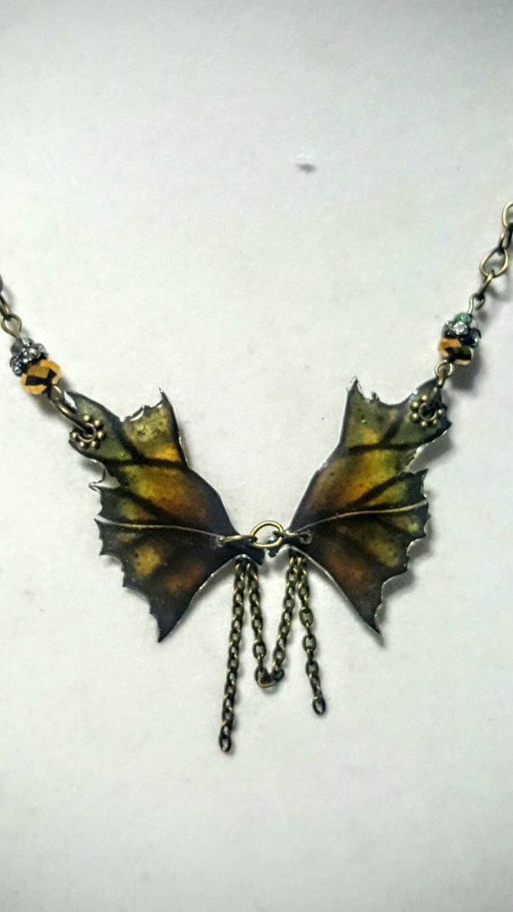Moss Dragon Wings Necklace