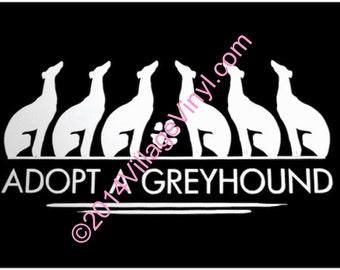 Greyhound Decal Adopt A Greyhound Vinyl Decal- Dog Lover Greyhound Vinyl Decal - Car Window Decal