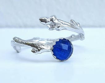 Twig Engagement Ring Twig Ring Silver Twig Ring Branch Ring Twig Lapis Lazuli Ring Elvish Engagement Ring Ring Alternative Engagement Ring