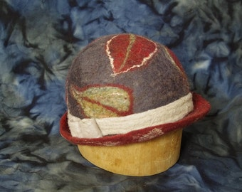Small brimmed hand felted leaf hat