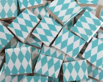 Ceramic Mosaic Tiles - Turquoise Blue And White Harlequin Checkered Mosaic Tile Pieces - 40 Pieces - Mosaic Art / Mixed Media Art/Jewelry