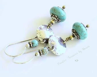 Turquoise Gemstone Earrings Sterling Silver Earrings Turquoise Gemstones Mixed Metal Copper Southwest Earrings