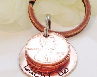 Lucky Us copper penny keychain
