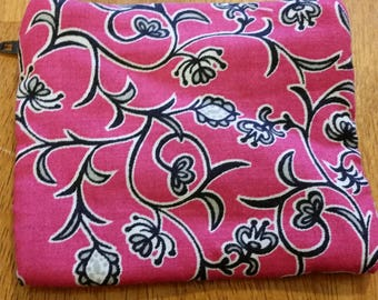 Coin Purse / Navy and Pink Print