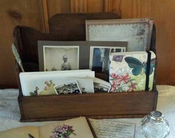 Letter rack , letter holder or desk organizer, antique wooden