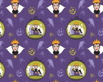 """Disney Fabric Villains Fabric Evil Queen in Purple From Camelot 43"""" Wide 100% Cotton"""