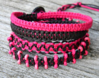 Pink and Black Bamboo Wrap Bracelet