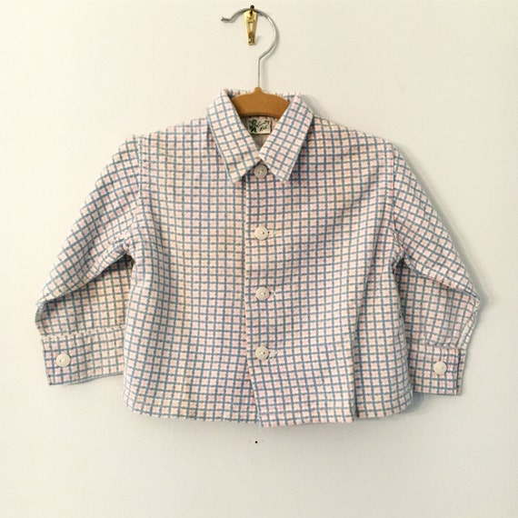 Vintage Infant/Toddler Long Sleeved Flannel Country Kid Shirt Size 12-18 Months - Mid Century Baby + Toddler Clothing