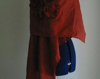Linen Red Shawl by NervousWardrobe on Etsy
