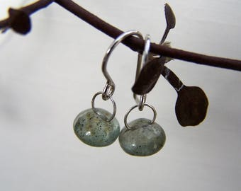 Tiny  Moss Aquamarine, smooth briolette, sterling silver bail, hook sterling silver earwire