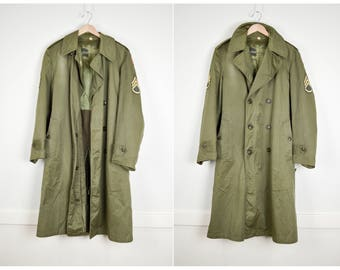 Vintage Military Trench Coat, Vintage Clothing, Military Jacket, Mens Trench Coat, Lined Trench, Winter Trench Double Breasted