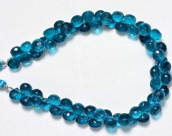 Cobalt Blue Hydro Quartz, Faceted Onion Shape Briolettes, 8mm Each, Blue Color Beads, Cut Onion Beads, Gemstone Beads SKU-1088