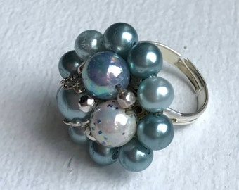 Blue Beaded Up-Cycled Ring