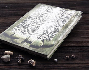 """Hand bound notebook, journal, diary, old journal diary with an ornament: """"Reflections"""""""