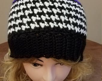 Iris Houndstooth Style Hat.  Super soft, for women- Ready to be Shipped